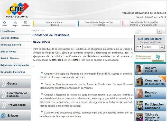 Descargar Planilla Carta de Constancia de Residencia del CNE
