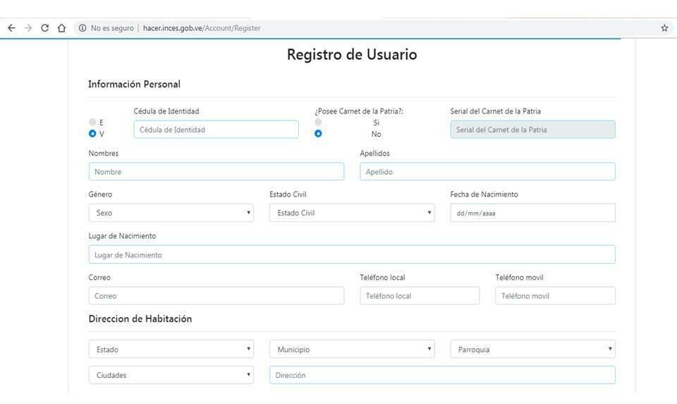 Descargar Planilla de inscripción en el INCES