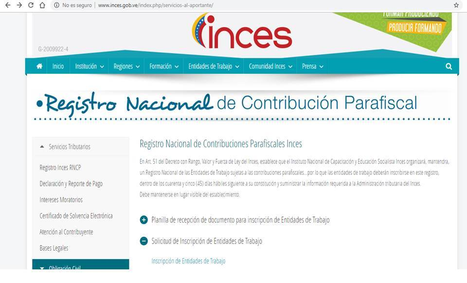 Planilla de INCES