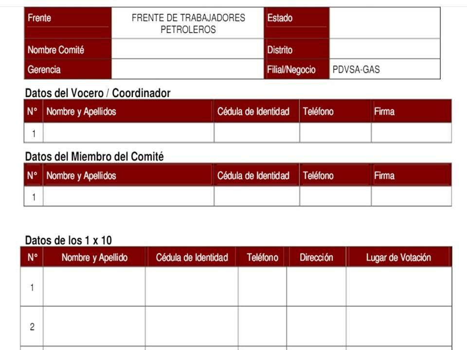 Planilla de inscripción del PSUV 1x10