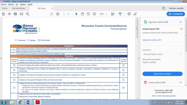 Planilla de registro y apertura de cuenta BNC 4