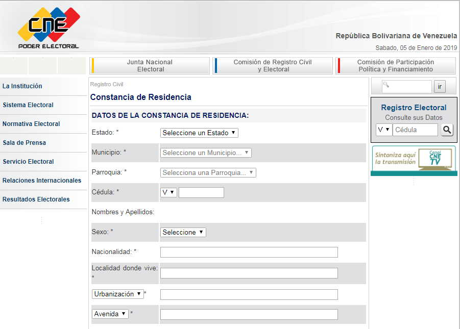 Rellenar Planilla Carta de Constancia de Residencia del CNE