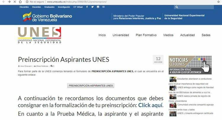 planilla de preinscripción de la UNES