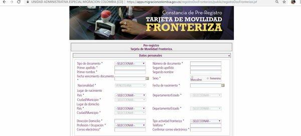 descargar planilla Carnet Fronterizo