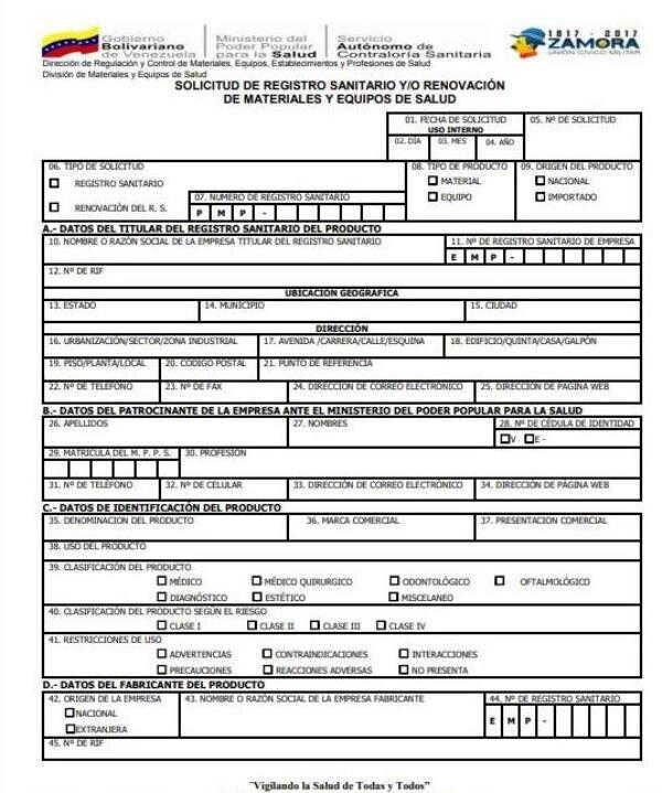 Planilla de solicitud de Permiso Sanitario (SACS) descargar